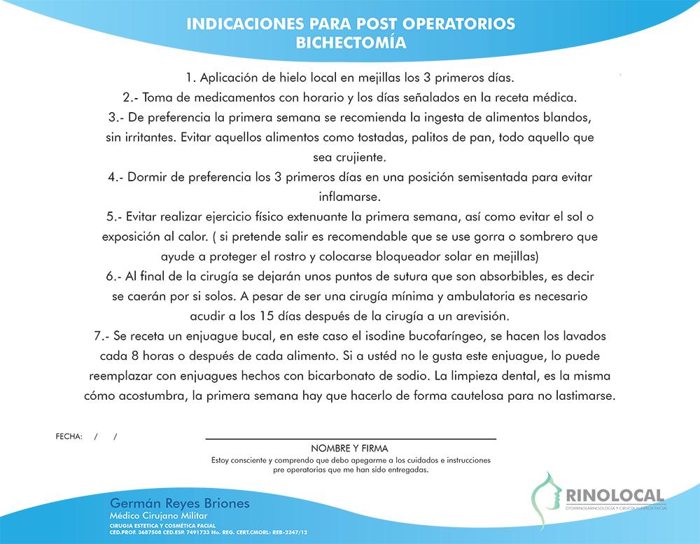 Indicaciones para post operatorios Bichectomía