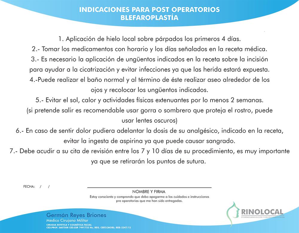 Indicaciones para post operatorios Blefaroplastía