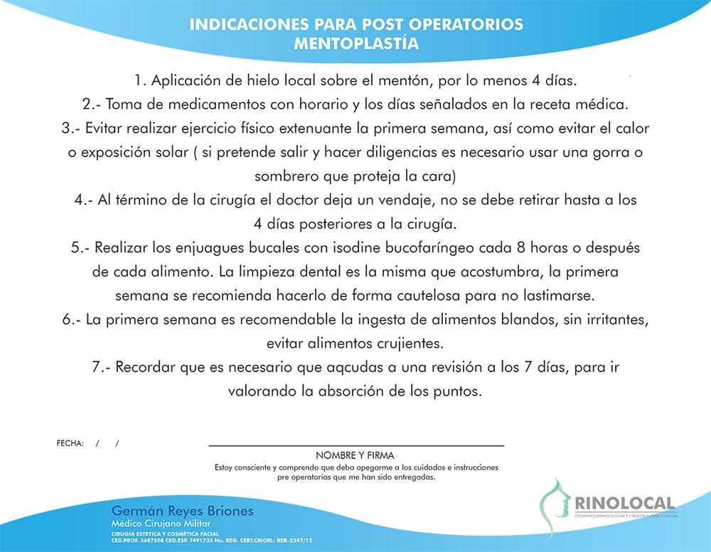 Indicaciones para post operatorios Mentoplastía